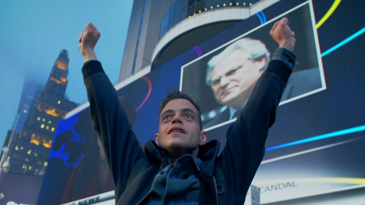 Mr. Robot hands up in victory
