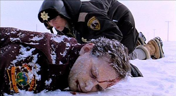 fargo officer investigating a murder crime scene